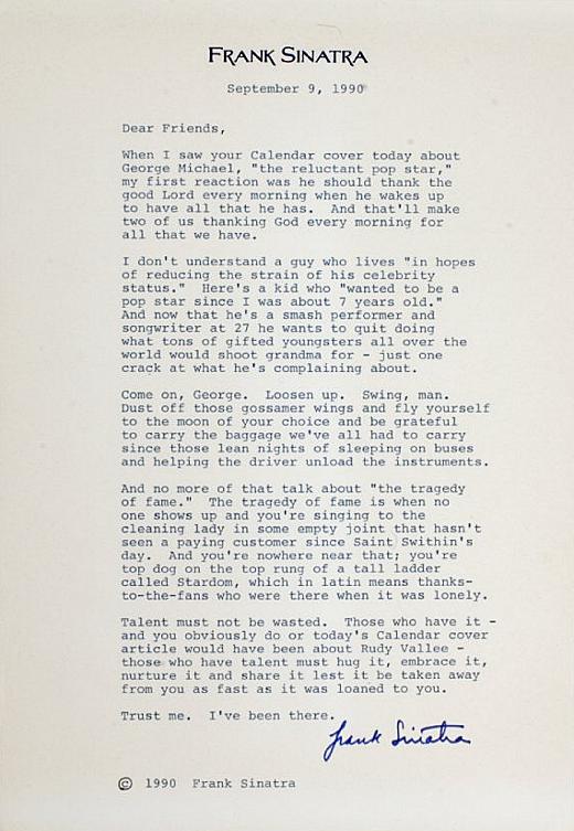 Открытое письмо Фрэнка Синатры Джорджу Майклу