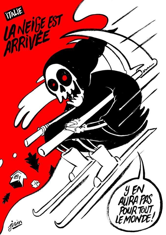 Карикатура Charlie Hebdo на лавину в Италии