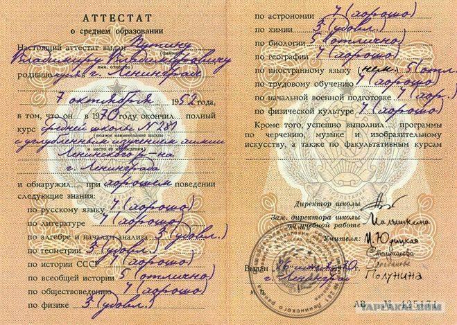 Школьный аттестат Владимира Путина. Фото