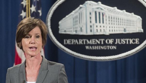 Письмо и. о. генпрокурора США Салли Йейтс, которая отказалась исполнять распоряжение Трампа о беженцах